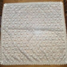 """White Lace Square Tablecloth Table Runner 40"""" x 40"""" Preowned"""