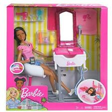 Mattel Barbie A Day at the Salon Doll & 10 pc Playset. African American