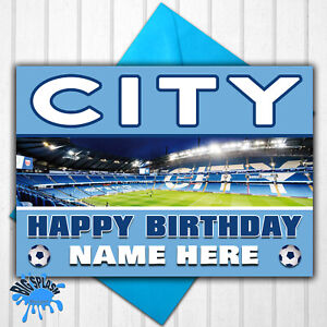 Manchester City Personalised Birthday Card Any Name/Age 21st 30th 40th 50th