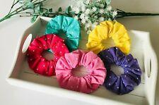 x5 pack coloured polka dot hair scrunchies