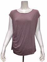 Lisa Rinna Collection Cap Sleeve Knit Top with Side Twist Detail Medium Size