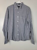 J. Crew Men's Button Down Shirt Size Large L Slim Untucked Gingham Plaid Blue