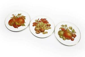 Furstenberg Butter Dish Trivet West Germany Fruit Autumn Porcelain 15cm x3 Lot