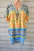 Derhy K Top Kaftan Blouse Tunic Size Medium Orange Blue White Paisley