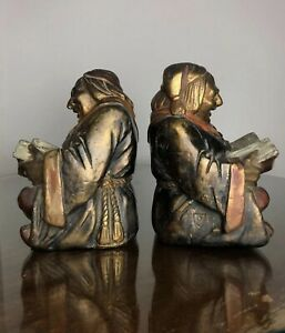 Antique Friar Monk bookends Armor Bronze clad By John Ruhl