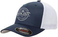 Koloa Surf-Premium Embroidered 34e Flexfit 6511 Truckers Caps Navy/white