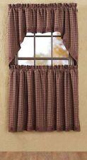 Burgundy Check Cafe Curtains Tier Set Valance Star Trim Kitchen New
