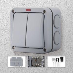 2 Way Wall  Double Light Switch Garden External   Weatherproof Outdoor IP66