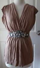 V-Neckline 100% Cotton Sleeveless Tunic Tops for Women