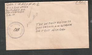 WWII Naval censor cover George Torney MM 1/c USS Coronado PF-38 to Detroit MI
