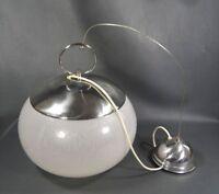 "12.5"" Mid-Century Italian Murano Glass Globe Pendant Chrome Ceiling Lamp Light"