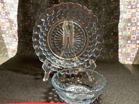 Vintage Anchor Hocking light blue 1Berry bowl & 1Flat Salad bowl Bubble pattern