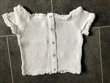 New Look Cropped Elasticated Top - White - Size 12