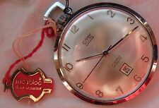 Camy Geneva Date Open Face Pocket Watch Nickel Chromiun Case 43 mm. in diameter