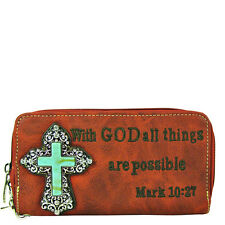 RED BIBLE VERSE METAL BLUE CROSS LOOK ZIPPER WALLET COUNTRY WESTERN FASHION NEW