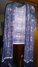 Long Sleeve Open Front Wrap Around Cardigan w/ Tassles Midnight Purple  Sz: XL
