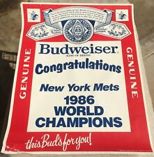 Vintage Poster Budweiser Beer Congratulations New York Mets 1986 World Champions