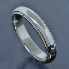 Tiffany & Co. Platinum PT950 4MM Wide Milgrain Wedding Band Ring Size 7.5