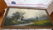 "Antique Oil Pastel Painting Framed Landscape 14x28"" c. 1870"