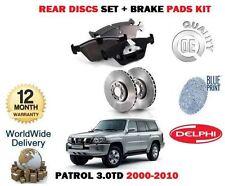 für Nissan Patrol 3.0TD ZD30DDTi Motor 2000-2010 Bremsscheiben SET HINTEN+BELÄGE