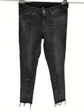 Levis Size 28 Skinny Jeans Black Gray Splattered Raw Hems Stretch Womens