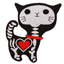 Cat Skull Embroidered Patch Sew Iron on Cartoon Logo Rock Metal Patches