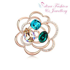 18K Rose Gold Plated Made With Swarovski Crystal Luxury Large Rose Brooch