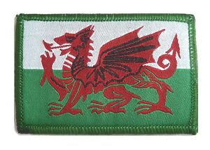 WELSH DRAGON PATCH Military Forces hook loop back UBAC colour Wales flag patch