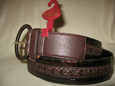 "BRIGHTON Ladies Brown Leather Belt From ""PATCHWORK"" Collection NWT Retail $76."