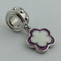 LAUREN G ADAMS RHODIUM & ENAMEL DANGLE FLOWER CHARM BEAD, FITS ALL BRANDS
