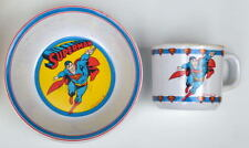 MAIL PREMIUM - SUPERMAN Plastic DRINKING CUP & BOWL w Great Graphics 1987