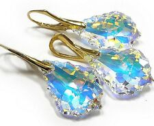 22mm Aurore Boreale Baroque Swarovski® Crystals Set, 37mm Matching Earings.