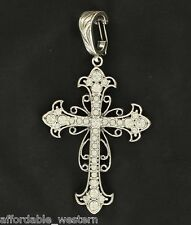 Rhinestone Cowgirl ~ ExLarge Crystal CROSS Pendant ~ Western Filigree Silver
