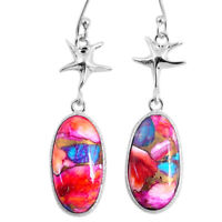 925 Silver 14.20cts Spiny Oyster Arizona Turquoise Dangle Earrings R62420