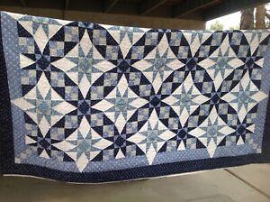Vintage Hand Stitched Floral Prints LeMOYNE 8 point STAR FULL Quilt