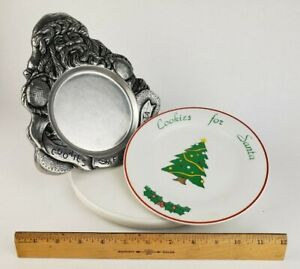 """2x Cookies for Santa Dishes - Plate 8"""" Pewter Tray Dish Serve Christmas Claus"""