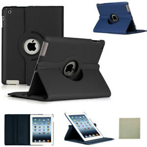 For iPad 2 3 4 A1395 A1396 A1397 Rotating 360 Case Smart Cover With Cloth