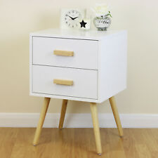 White & Wood Retro Nightstand Side Cabinet/End Table Modern 2 Drawer Furniture