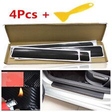 4x 4D Black Carbon Fiber Surface Car Door Sill Sticker Step Anti Scratch Decals