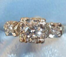 Vintage 14K White Gold Ring, 3.35mm & 2, 2mm Diamonds, TCW 1/5, Size 6.5