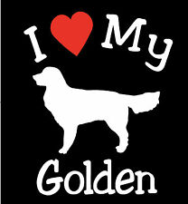 Pair of I Love My Dog GOLDEN RETRIEVER Pet Car Decals Stickers Ready to Apply