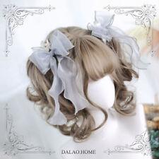 Japanese Harajuku Sweet Lolita Gradient Short Curly Hair Kawaii Daily Fairy Wig#