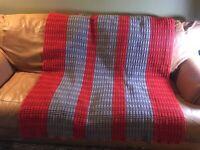 "Beautiful Afgan Crochet Blanket Throw  51"" X 65"" Stripes"