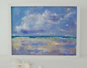 Beach at Low Tide, Original Oil Painting, Version 2, framed, 43 cm x 33 cm