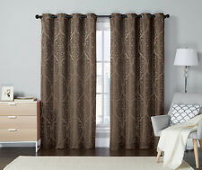 One (1) Chocolate Brown Jacquard Grommet Window Curtain Panel: Medallion Design