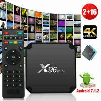 HD X96 Mini 2GB+16GB Android 7.1.2 Quad Core Smart TV Box WiFi 4K Media Remote Z