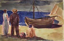 Mueller-Leutert Hellmuth 1892-1973 Strandidyll mit Boot und Personen Aquarell