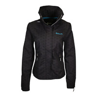 Bench Women's Black Teal Light Weight Barbecue Zip-Up Jacket (Size Medium)