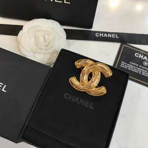US SELLER CHANEL CC Logos Quilted Brooch Pin Corsage Gold-Tone