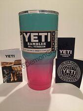 YETI 30 oz. Rambler Powder Coated Tiffany Blue & Neon/Hot Pink Tumbler insulated